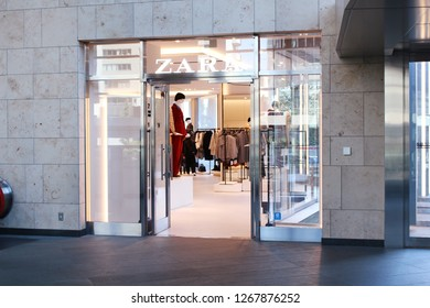 TOKYO, JAPAN - September 28, 2018: View of the entrance to a Zara clothes store in Toyko's Roppongi Hills.