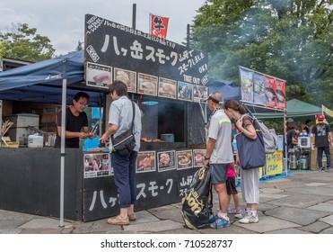 TOKYO, JAPAN - SEPTEMBER 2ND, 2017. Food vendors at Kiba park during the Yosakoi Soran Festival in Kiba park, Tokyo.