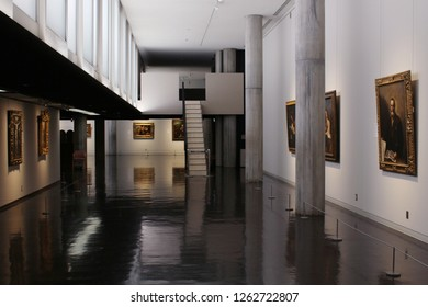 TOKYO, JAPAN - September 30, 2017: View of a gallery in Tokyo's National Museum of Western Art.