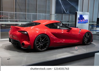 Tokyo, Japan - September 6, 2018: The Toyota FT-1 concept vehicle at the a show in Toyota Heartful Plaza in Tokyo.