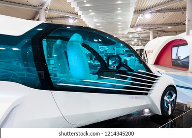 Tokyo, Japan - September 6, 2018: Toyota fuel car concept FCV Plus H2O is showing at the Toyota Heartful Plaza. This car uses four hydrogen fuel tanks, which store high-pressure compressed hydrogen.