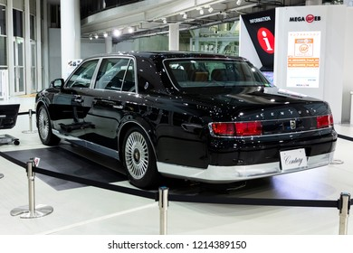Tokyo, Japan - September 6, 2018: Toyota's a new Century luxury sedan car at the Toyota Heartful Plaza. Their total redesign of the subdued flagship in its 50-year history.