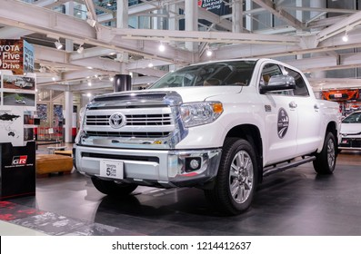 Tokyo, Japan - September 6, 2018: New Toyota Tundra pickup truck on display at the Toyota Heartful Plaza. The Tundra is a pickup truck manufactured in the United States by the Toyota since May 1999.