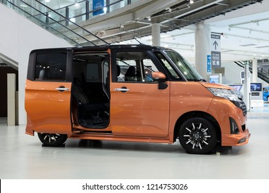 Tokyo, Japan - September 6, 2018: Toyota Roomy is a car which have simultaneously pulled the covers off a range of new jointly-developed minivans by Toyota and Daihatsu in Japan.