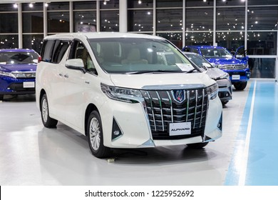Tokyo, Japan - September 6, 2018: Toyota Alphard car is displaying at Toyota Heartful Plaza, produced by Japanese automaker Toyota.