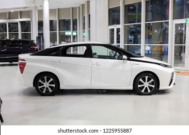 Tokyo, Japan - September 6, 2018: Toyota Mirai fuel cell hybrid car is displaying at Toyota Heartful Plaza, produced by Japanese automaker Toyota.