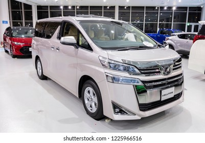 Tokyo, Japan - September 6, 2018: Toyota Vellfire is displaying at Toyota Heartful Plaza, produced by Japanese automaker Toyota.