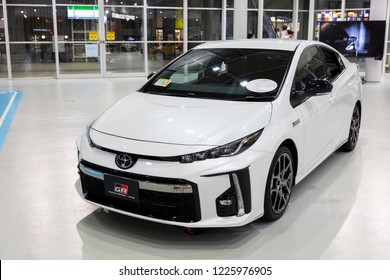 Tokyo, Japan - September 6, 2018: Toyota Toyota Prius PHV Gazoo Racing car is displaying at Toyota Heartful Plaza, produced by Japanese automaker Toyota.
