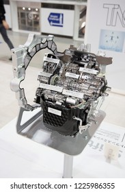 Tokyo, Japan - September 6, 2018: Toyota Direct Shift-CVT: A New Type of Continuously Variable Transmission technology is displaying at Toyota Heartful Plaza, produced by Japanese automaker Toyota.