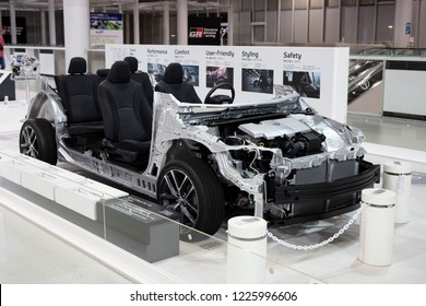 Tokyo, Japan - September 6, 2018: Toyota TNGA: Toyota New Global Architecture technology is displaying at Toyota Heartful Plaza, produced by Japanese automaker Toyota.