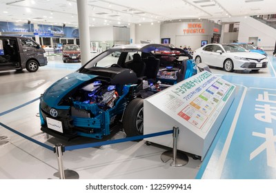 Tokyo, Japan - September 6, 2018: Toyota Prius PHV' half of body is displaying at Toyota Heartful Plaza, produced by Japanese automaker Toyota. Winglet controlls by the user's weight shifting.