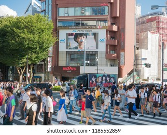 Tokyo, Japan - September 8, 2018: Unidentified people at Takeshita street in Harajuku, famous of unique Japanese cosplay street fashion
