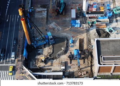 TOKYO, JAPAN - September 9, 2017: Overhead view of a large construction site in Tokyo's Bunkyo Ward.