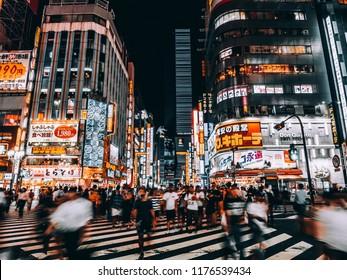 Tokyo Japan, Shinjuku : 3 AUG 2018 : The beautiful cityscape architecture and building around Kabukicho street and shinjuku area at night