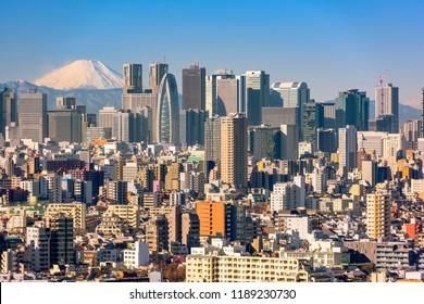 Tokyo, Japan Shinjuku Ward skyline with Mt. Fuji.