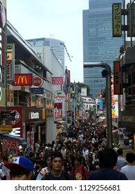 Tokyo/ Japan - View of the very busy and lively Takeshita Street in Tokyos' Harajuku district on a cloudy afteroon on June 20th of 2018.