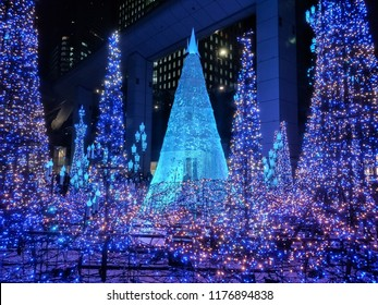 Tokyo, Japan-December 13, 2107 : Illuminations light up at Caretta shopping mall in Shiodome district, Odaiba area. The illuminations prepared for the forth coming Christmas Eve.