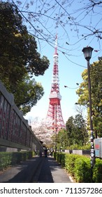 Tokyo, Japanese, April 10, 2017: View of Tokyo tower in the middle of Tokyo city in the sakura season.