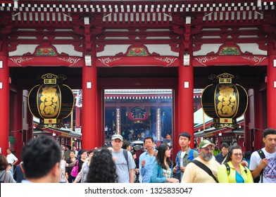 Tokyo, Japan-July 2014: Asakusa Temple in Tokyo. Asakusa district tourist spot destination, Japan, Asia. Asian historic architecture. Sensoji Asakusa Kannon Temple - Japan landmark background.