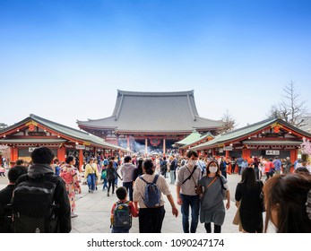 TOKYO JAPAN-MAR.27,2018 : Sensoji temple at Asakusa neighborhood, tourists come to pay homage to buddha & pray. This temple is a place of pristine beauty, architectural treasures are unique to Japan.