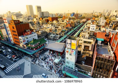 TOKYO JAPAN-MAR.28,2018 : Sensoji temple at Asakusa neighborhood, tourists are very happy to pay homage to blessing. This area has many shops & shopping center. One of Tokyo's must-see places to visit