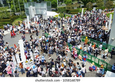 "Tokyo, JP - DECEMBER 31, 2017: Crowd of people in characters costume are visiting the biggest cartoon event in Japan named ""Comic Market (Comiket)"" at Tokyo Big Sight in a winter day."