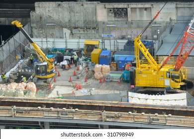 TOKYO - JULY 17, 2015: Aerial view of a construction site in Tokyo. Japan is the third largest construction market in the world.