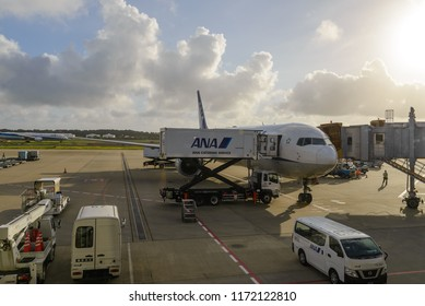TOKYO - JULY 2018: All Nippon Airways (ANA) aircraft and services vehicle at Narita International Airport, Tokyo.