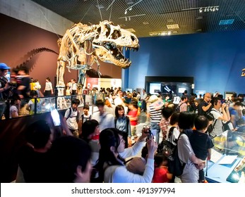 Tokyo -JUN 4: people visit the dinosaur exhibition at National Museum of Nature and Science in Tokyo, Japan on June 4, 2016. This museum offer a wide variety of natural history exhibitions in Japan.
