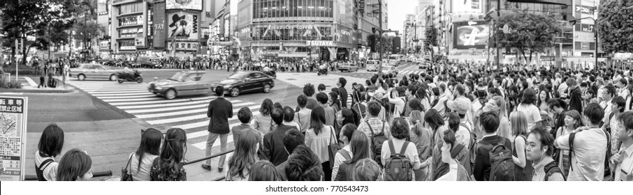 TOKYO - JUNE 1, 2016: Panoramic view of Shibuya Crossing with people at sunset. Shibuya is a popular district of Tokyo.