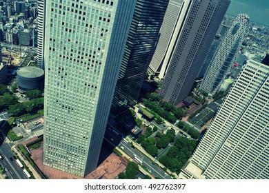 Tokyo - June 2016: Aerial city view with skyscrapers. Shinjuku.