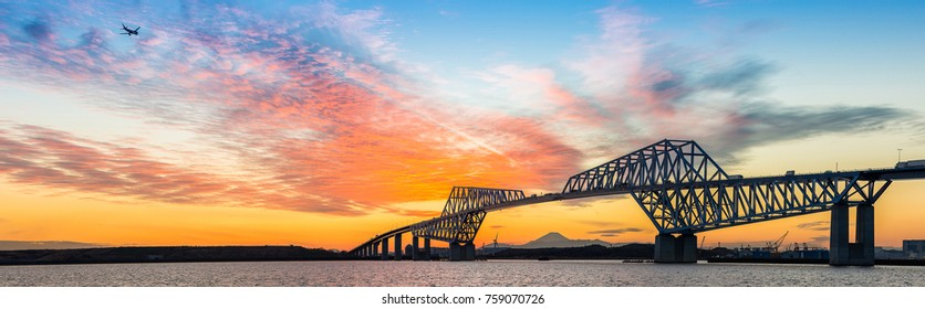 Tokyo landmark , Tokyo Gate Bridge in Tokyo Japan Sunset panorama