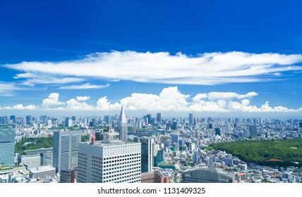 Tokyo landscape · blue sky and green · summer