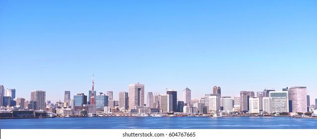 Tokyo landscape seen from Tokyo harbor