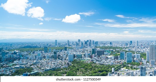 Tokyo landscape Wide early summer blue sky and green