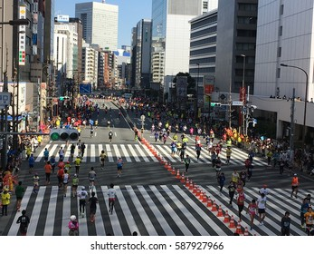 Tokyo Marathon 2017, photo taken on 26th Feb 2017 at JR Tamachi station. Tokyo Marathon is one of the largest major Marathon, in the biggest city in the world, Tokyo, Japan.