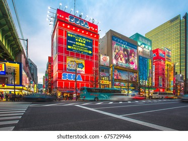 TOKYO - MARCH 29: Akihabara district on March 29, 2016 in Tokyo, JP. The district is a major shopping area for electronic, computer, anime, games and otaku goods.