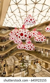 TOKYO - MAY 13 : Ginza Six, a new shopping mall in Ginza district. MAY 13, 2017 in Tokyo, Japan. The mall has a Yayoi Kusama installation