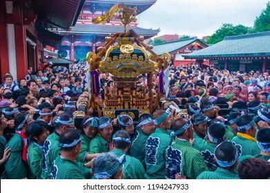 TOKYO - MAY 19 : Participants in the Kanda Matsuri in Tokyo, Japan on May 19 2018. Kanda Matsuri is one of three main festivals of Tokyo, Japan