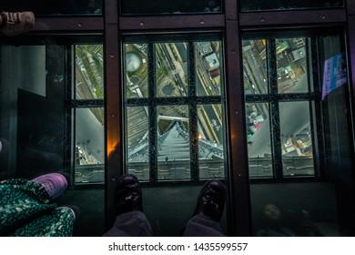 Tokyo - May 20, 2019: Inside the Tokyo Skytree tower in Tokyo, Japan