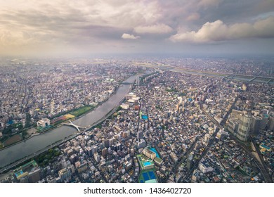Tokyo - May 20, 2019: Panoramic view of Tokyo seen from the Tokyo Skytree tower in Tokyo, Japan