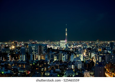 Tokyo - May 2016: Aerial view of city with Skytree at night.