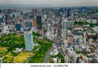 TOKYO - MAY 2016: City aerial skyline. Tokyo attracts 20 million tourists every year.