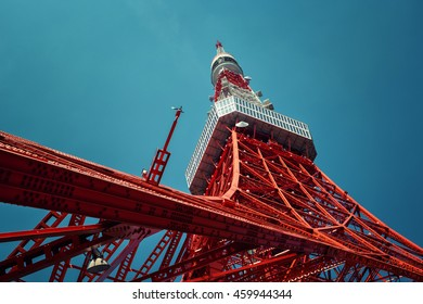 Tokyo - May 2016: Tokyo tower bottom view against blue sky.