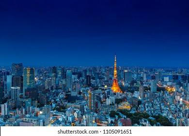 Tokyo at Nigh view of Tokyo tower, Tokyo city skyline, Tokyo Japan