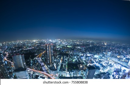 Tokyo night view full view super wide-angle fisheye shooting