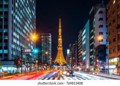TOKYO - NOV 21:Traffic and Tokyo Tower at night on November 21, 2017 in Tokyo, Japan.