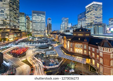 TOKYO - NOVEMBER 13: trainstation in Chuo district November 13, 2017 in Tokyo, JP. The area is a nightlife district known as hub of transportation in Tokyo