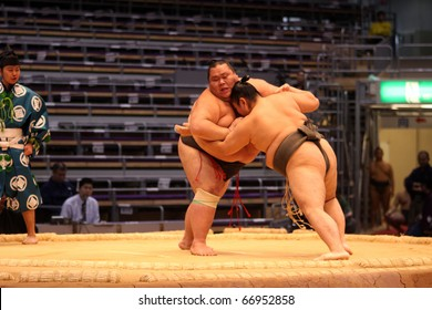 TOKYO - NOVEMBER 18: Two young sumo wrestlers in a tight grip in the Fukuoka Tournament on November 18, 2010 in Fukuoka, Japan.