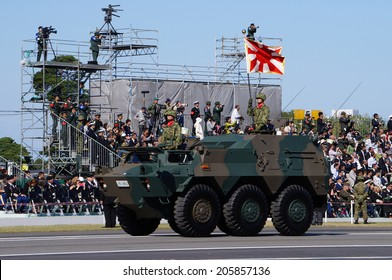 TOKYO- OCTOBER 27: Type 87 reconnaissance vehicle in the inspection parade of Japan Ground Self Defense Force in Asaka base, Tokyo on October 27, 2013. This parade is held every three years.